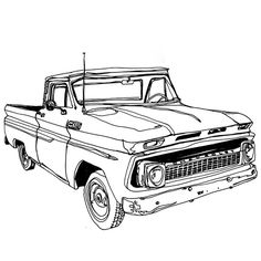 Drawing of an old Chevy truck, want to load it up with longboards and head to the coast!