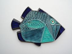 Fantastic 1960's Robert Jefferson Poole Pottery Fish Plaque in Pottery, Porcelain & Glass, Pottery, Poole | eBay
