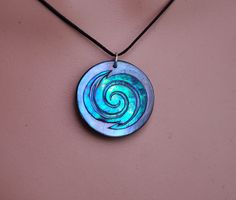 Moana style~ New Zealand Paua Shell spiral pendant~ Maori engraving for two growing together by JackieTump on Etsy