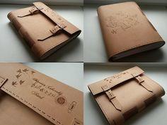 Kožený zápisník - originálny denník, hladenica, ručná práca / handmade book / bookbinding / long stitch / leather journal / notebook / diary / photo album / marián čekovský & band / music / big book