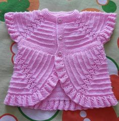 This Pin was discovered by HUZ Baby Cardigan Knitting Pattern, Knitted Baby Cardigan, Chunky Knitting Patterns, Knit Patterns, Baby Girl Dresses, Baby Dress, Crochet Summer Dresses, Kurti Designs Party Wear, Crochet Baby Clothes