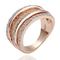 18K Rose Gold Plated Diamante Ring