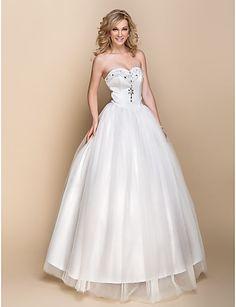A-line Floor-length Wedding Dress - Ivory Sweetheart Organza – USD $ 79.99