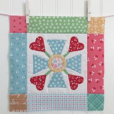 BLOOM Sew Along! 9-by Lori Holt Lori uses BLOOM set from her Sew Simple Shapes  and fabric prints from Calico Days from Riley Blake Designs to help create the appliqué blocks.