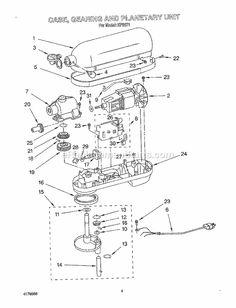 Kitchenaid 6 Quart Mixer Parts useful diagram showing the gear assembly of a kitchenaid