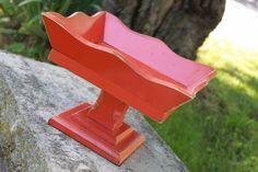 Shabby Orange wooden pedestal bowl - Shabby Chic - Boho - Cottage Chic - Fruit Bowl - Party Decor - Table Decor - Square Bowl. Eightysix56.etsy.com