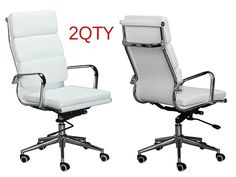 Eames High Back Office Chair - WHITE Vegan Leather, thick high density foam, stabilizing bar swivel & deluxe tilting mechanism - Sold in a box of TWO chairs.