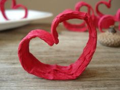 Wedding table decor, Heart decor ornament Red place card holder