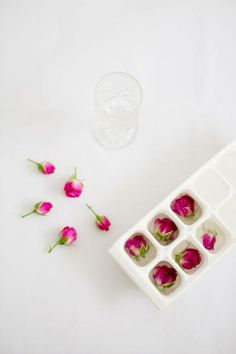 freeze mini roses for their water glasses