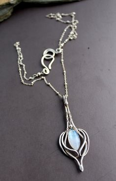 Moonstone Necklace Silver Moonstone Celtic Pendant Necklace