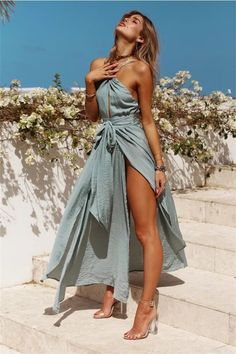 Load image into Gallery viewer, Sexy Hanging Neck Wrapped Chest Holiday Beach Dress beach Sexy Hanging Neck Wrapped Chest Holiday Beach Dress Shift Dresses, Sexy Dresses, Fitted Dresses, Midi Dresses, Blue Dresses, Dress Outfits, Casual Dresses, Vestidos Sexy, Look Boho
