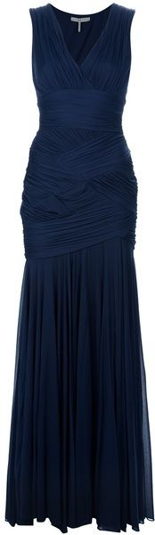 Halston Heritage Ruched Gown in Blue (navy)  - Love the draping