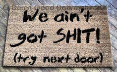 welcome beware of husband, wife is cool- rude, funny doormat from damn Good Doormats