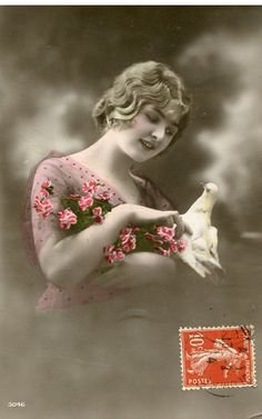 Original French vintage hand tinted real photo postcard - Lady with dove and flowers - Victorian Paper Ephemera