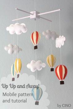 Baby Diy Mobile Colour 49 New Ideas Baby Crafts, Felt Crafts, Diy Hot Air Balloons, Purple Balloons, Deco Kids, Diy Bebe, Diy Inspiration, Felt Diy, Baby Decor