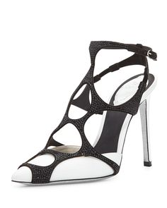 Swarovski® Crystal Web Slingback Pump, Black/White, Women's, Size: 36.5B/6.5B, White/Black - Rene Caovilla
