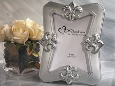 Elegant Fleur De Lis Picture Frame Spring Wedding Favors at FavorWarehouse.com