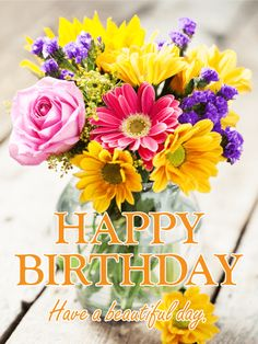 Fresh Flower Bouquet Happy Birthday Card
