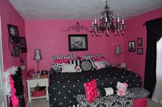 Hot pink,black and white girls room, girls room ideas, girlie room,girls bedroom,girls room redo