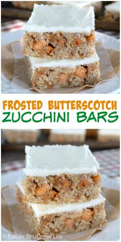These frosted zucchini bars are full of butterscotch chips and will not last in your house. Awesome dessert recipe!: