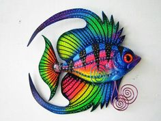 Popular items for fish art on Etsy Fish Wall Art, Fish Art, Fish Sculpture, Wall Sculptures, Quilling, Clay Fish, Seahorse Art, Beach Art, Tropical Fish