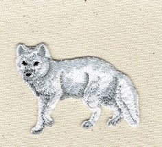 Arctic Fox - Natural - Full Body - Walking Left - Iron on Applique - Embroidered Patch - 697144-A