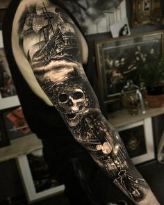 125 Best Arm Tattoos For Men: Cool Ideas + Designs Guide) - Amazing Skull Pirate Full Arm Tattoos – Best Arm Tattoos For Men: Cool Upper, Lower, Inner, Front - Pirate Tattoo Sleeve, Ship Tattoo Sleeves, Pirate Skull Tattoos, Nautical Tattoo Sleeve, Pirate Ship Tattoos, Skull Sleeve Tattoos, Best Sleeve Tattoos, Tattoo Sleeve Designs, Skull Pirate