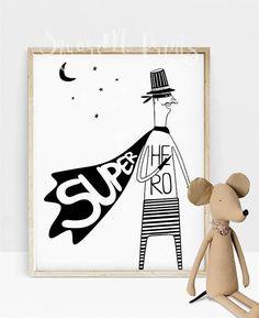 Affiche Super Héros, Déco Chambre Garçon, Chambre Bébé, Décoration Murale, Téléchargement Numérique, Chambre D'enfant Scandinave, Cadeau