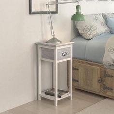 Table de chevet à 1 tiroir de chambre Meubles pour téléphone couleur Gris+Blanc 30 x 30 x 63 cm - Achat / Vente chevet Table de chevet à 1 tiroir de - Cdiscount