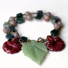 Carved Stone Woodland Necklace/ Art Nouveau Leaf by ALFAdesigns, $79.99