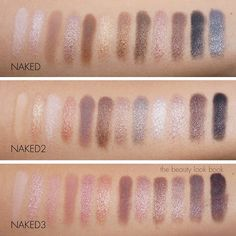 naked urban decay swatched. Try these--especially Naked (bronze hued) and Naked 3 (rose hued)