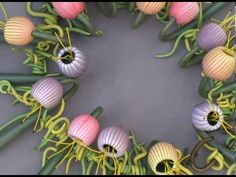 "video for these beads from Garbe Designs.  Interesting concept of ""story"".  Watch how she shapes the inside with the dowel and how she applies the stripes, stems.  Note how everything is strung on heavy gage wire with markers for the pods. The ""tute"" is visual with no explanation of what she is doing. #polymer #clay #tutorial"