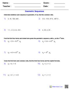 Arithmetic and Geometric Means with Sequences Worksheets ...
