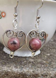 Rhodonite earrings mothersdaygift giftforher by Mammybluebeads