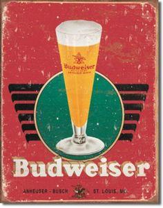 Bud Budwieser Retro Glass & Logo Man Cave Bar Tin Sign #1483