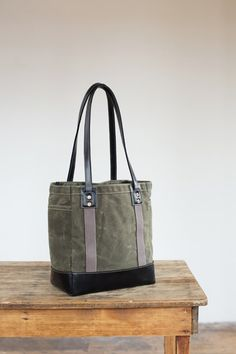 No. 115L Carry Tote in Olive Waxed Canvas & Black by ArtifactBags, $230.00