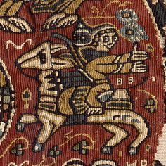 This is part of a tapestry from the 7th century. The myriad of techniques demonstrated in this one small fragment are executed so beautifully. Some of the techniques are eccentric weft, slit tapestry, and sumac as well as some embroidery.