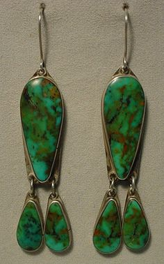 Vintage Old Indian Sterling Silver Turquoise Dangle Earrings: