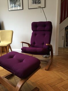 Clyde fabric in colour claret looking great on recliner and stool, upholstered by Peter Moore, Suffolk.