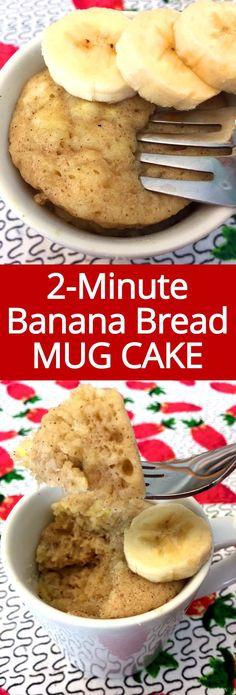 I love this epic banana bread mug cake! Make a single-serving banana bread in a microwave in 2 minutes whenever you crave it! I love this epic banana bread mug cake! Make a single-serving banana bread in a microwave in 2 minutes whenever you crave it! Microwave Banana Bread, Banana Bread Mug, Coconut Flour Banana Bread, Mug Cake Microwave, Gluten Free Banana Bread, Healthy Banana Bread, Microwave Recipes, Banana Bread Recipes, Keto Mug Bread