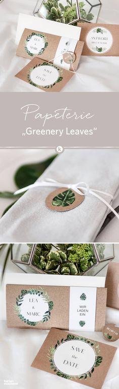 Von der Save the Date Karte bis zur Einladungskarte: die Hochzeitspapeterie 'Greenery Leaves' greift den Boho-Stil im Greenery Look voll und ganz auf. Aquarell - Elemente treffen auf Kraftpapier-Look. Besonders schön: eine gefaltete Einladung mit Banderole.