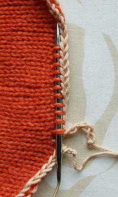 """A provisional cast-on keeps cast-on stitches """"live"""" so that they can be knit later. It's a very useful technique when you're not sure what kind of edging you'll want or how long to make something. With a provisional cast-on, you can make these decisions at the end of a project, allowing you to respond to the actual garment. I made this tutorial to go with my 70's Ski Hat Project Journal, the provisional cast-on is used to make a cashmere lining for the hat."""