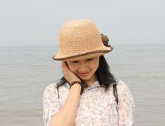 crochet hat women crochet summer straw hats in by Magicdoll, $45.00