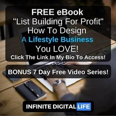 """FREE guide how to design a lifestyle business YOU LOVE by following 3 simple steps revealed in this E-book created by @infinite_digital_life """"List Building For Profit"""". BONUS: 7 Day Free Video Bootcamp!  Click the link in my bio @infinite_digital_life  Follow me @infinite_digital_life"""