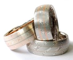 New metal combinations for our intricate Willow pattern Mokume gane wedding bands. By Chris Ploof.