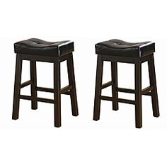 Black 24-inch Bicast Leather Counter-height Saddle Bar Stools (Set of 2)-for kitchen bar
