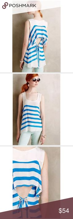 New Silky Marina Stripe Tank Plenty by Tracy Reese Unique Silky and tiered Marina for Anthropologie Striped Tank Plenty by Tracy Reese, M. New with tags attached. Anthropologie Tops Tank Tops