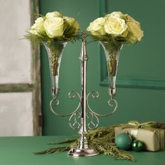 "I am the owner of CANDELABRA CENTERPIECE RENTALS & MORE BY NATALIE; in Yankton, SD.  Contact Info:  Madonna Adams; 605-665-6583 OR 605-665- 8842. This  ""Le Meurice Epergne Centerpiece"" from Two's Company (nickel plated brass with glass floral vases),  is just ONE of the MANY centerpieces that I have for rent.  RENTAL  PRICE:  $10.00.  QUANTITY AVAILABLE:  80.  CHECK US OUT ON FACEBOOK.COM"