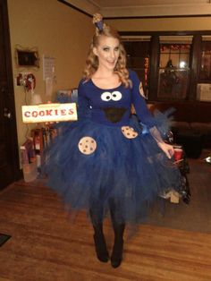 Cookie Monster Costume!! Looks easy to do and cute - I could see other characters as well using this same idea.