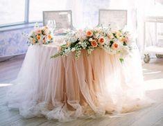Whole Sale Peach Tulle Chiffon Table Skirt Long Tutu, Head Table Wedding, Wedding Stage, Sweet Heart Table Wedding, Satin Tulle, Tulle Tutu, Tulle Table Skirt, Table Skirts, Sweetheart Table Decor